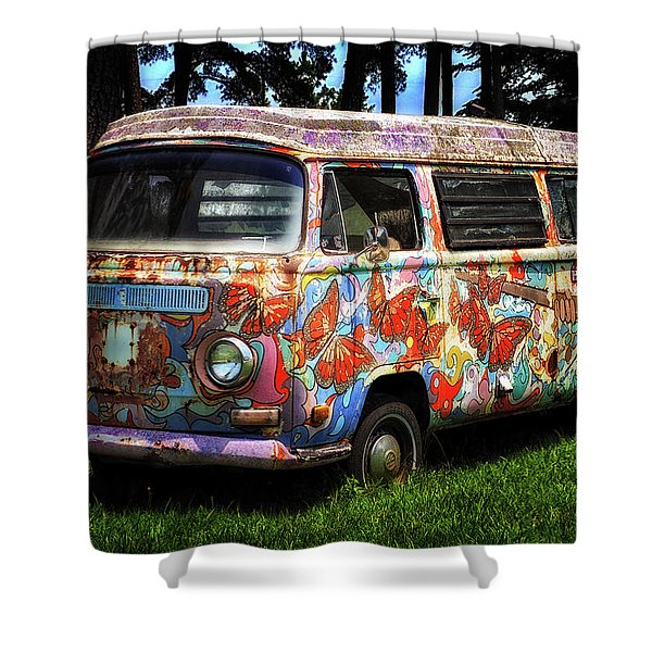 Vw Psychedelic Microbus Shower Curtain