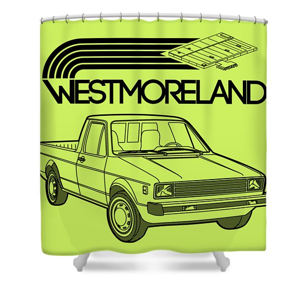 Vw Rabbit Pickup - Westmoreland Theme - Black Shower Curtain