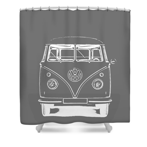 Vw Van Graphic Artwork Tee White Shower Curtain