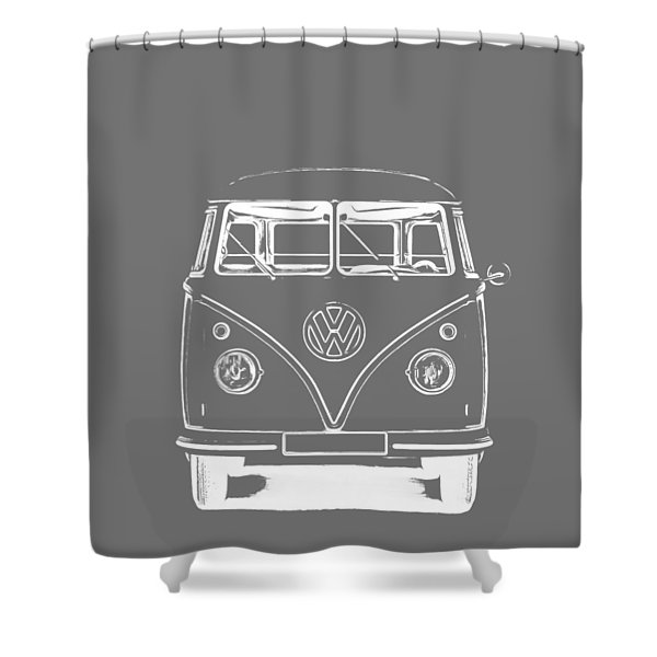 Shower Curtain featuring the photograph Vw Van Graphic Artwork Tee White by Edward Fielding