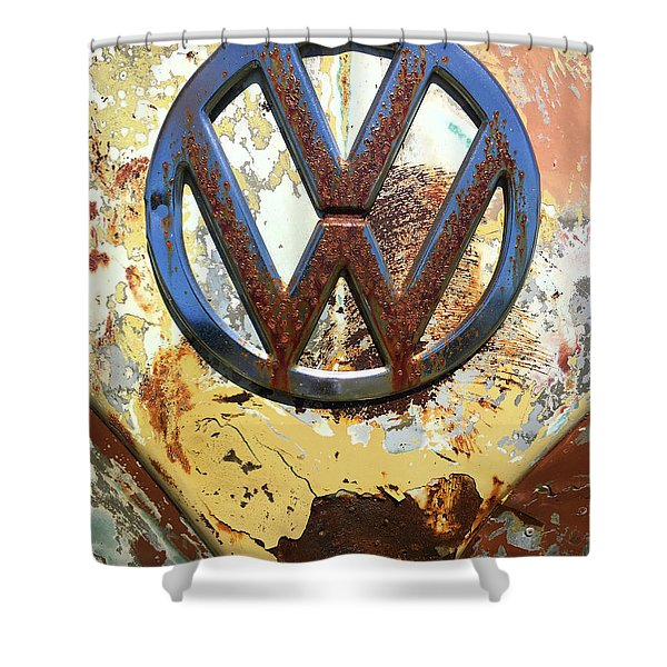 Vw Volkswagen Emblem With Rust Shower Curtain