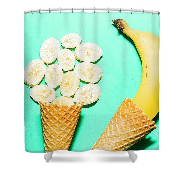 Waffle Cones With Fresh Banana Shower Curtain