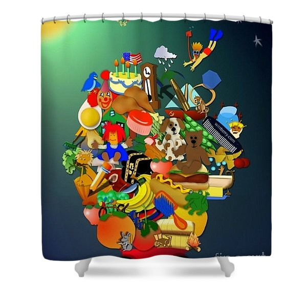Wagon Of Toys Without White Frame Shower Curtain
