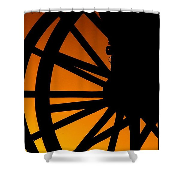 Wagon Wheel Sunset Shower Curtain