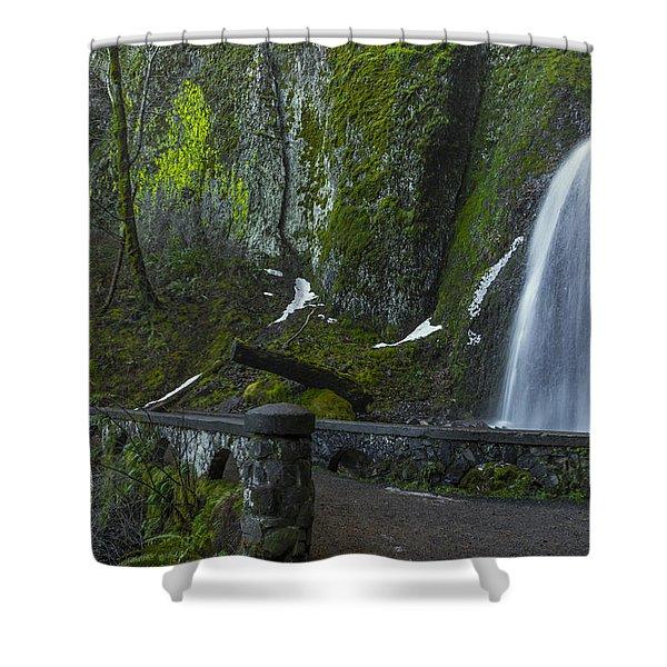 Wahkeena Falls Bridge Shower Curtain