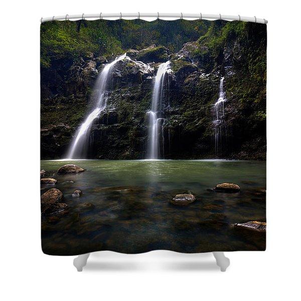 Waikani Falls Maui Shower Curtain
