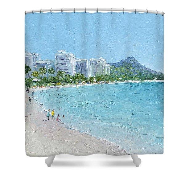 Waikiki Beach Honolulu Hawaii Shower Curtain