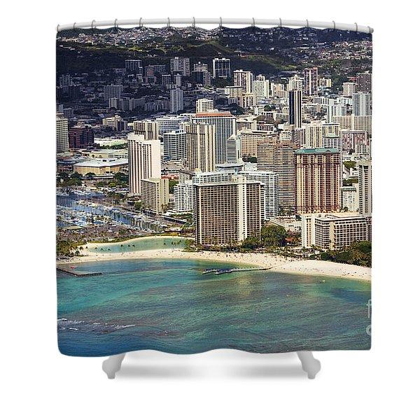 Waikiki From Above Shower Curtain