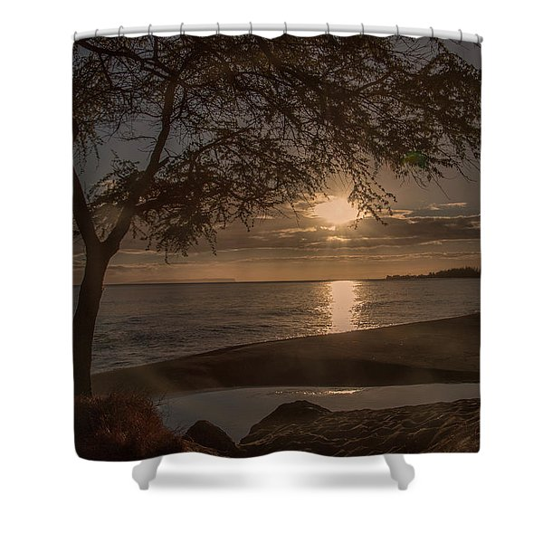Waimea Bay Sunset 4 Shower Curtain