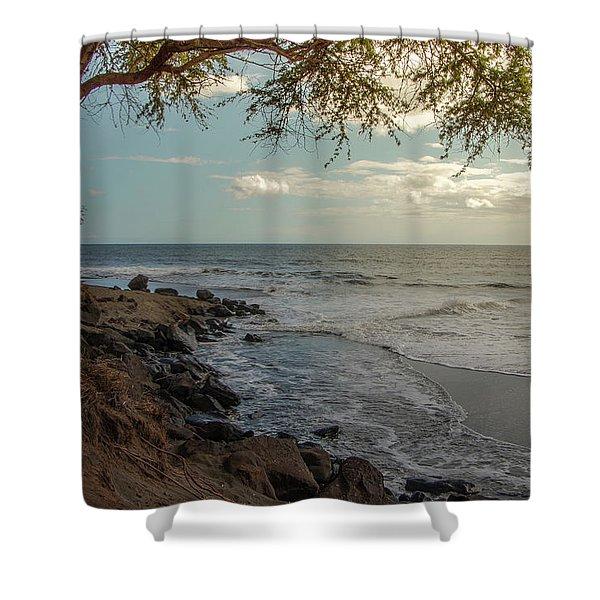 Waimea Bay Sunset Shower Curtain