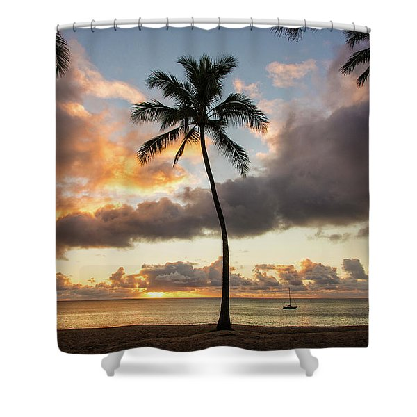 Waimea Beach Sunset - Oahu Hawaii Shower Curtain