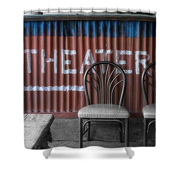 Corrugated Metal Theater Sign Shower Curtain