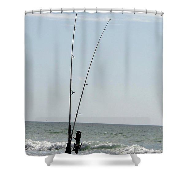Waiting For The Bait Shower Curtain