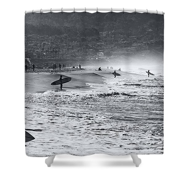 Waiting For The Surf By Mike-hope Shower Curtain