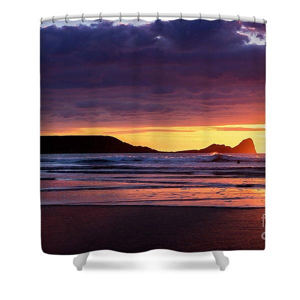 Wales Gower Coast Helvetia Shower Curtain
