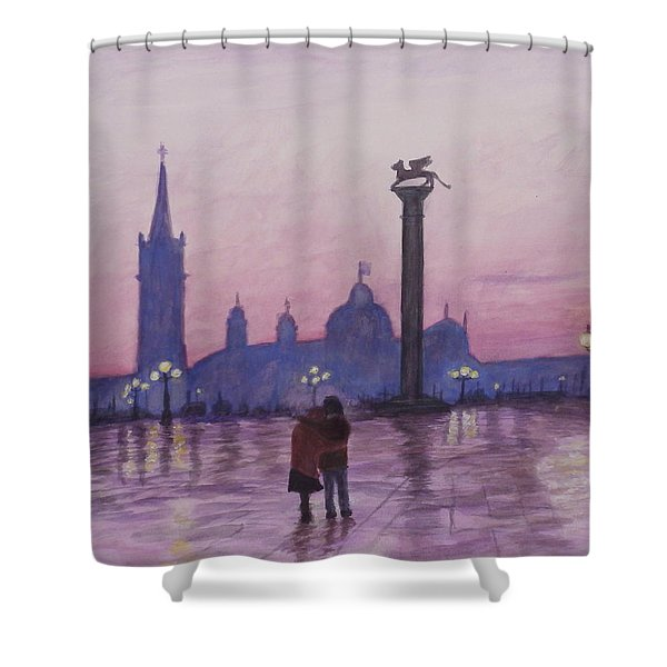 Walk In Italy In The Rain Shower Curtain