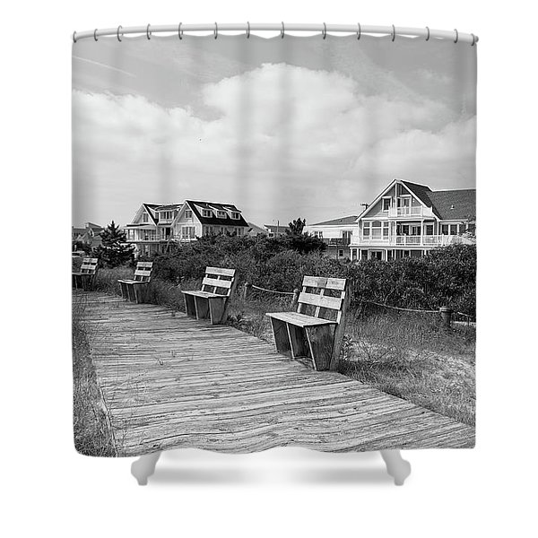 Walk Through The Dunes In Black And White Shower Curtain