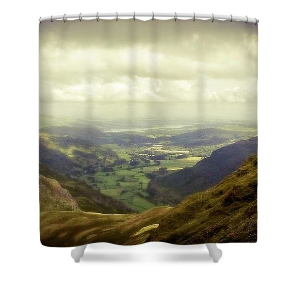 Walking In The Mountains, Lake District, Shower Curtain