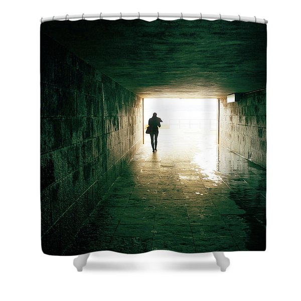 Walking Into The Light Shower Curtain