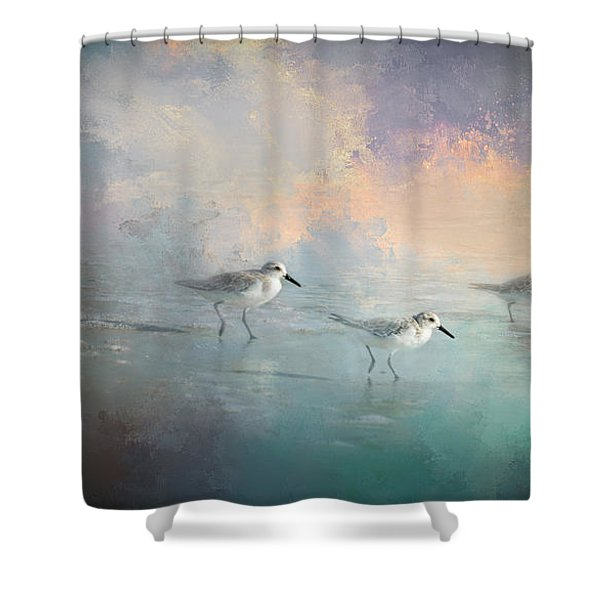 Walking Into The Sunset Shower Curtain