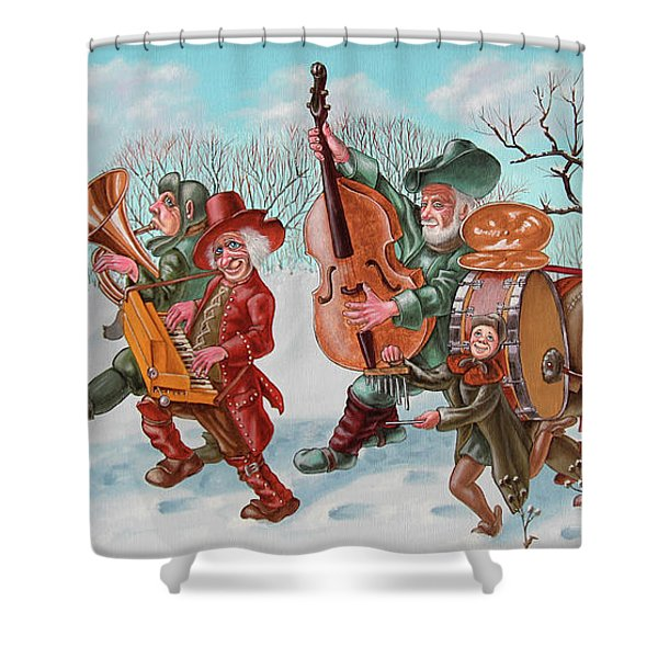 Walking Musicians Shower Curtain