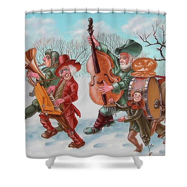Walking Musicians Shower Curtain