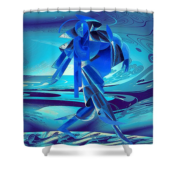 Shower Curtain featuring the digital art Walking On A Stormy Beach by Robert G Kernodle