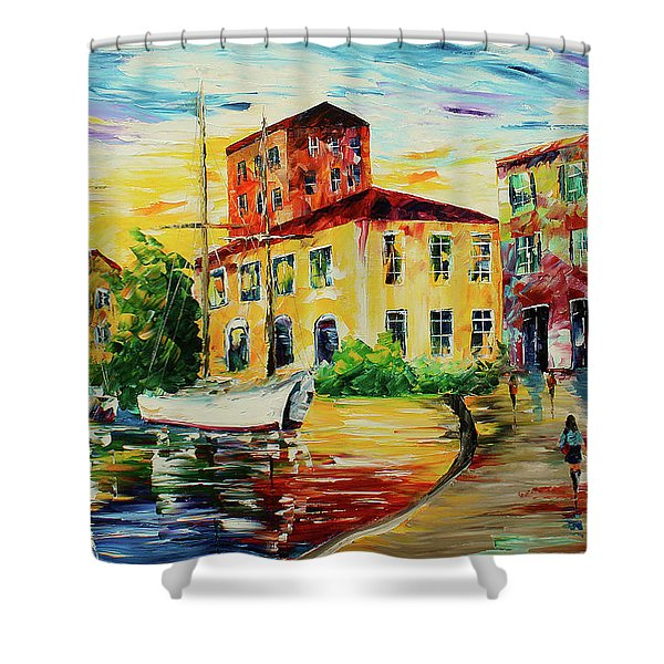Walking The Harbor Shower Curtain