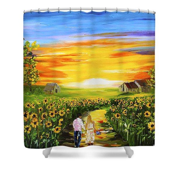 Walking Through The Sunflowers Shower Curtain