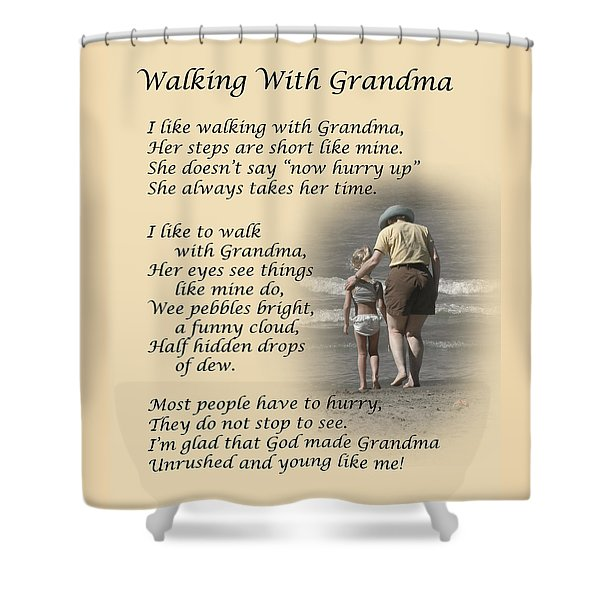 Walking With Grandma Shower Curtain