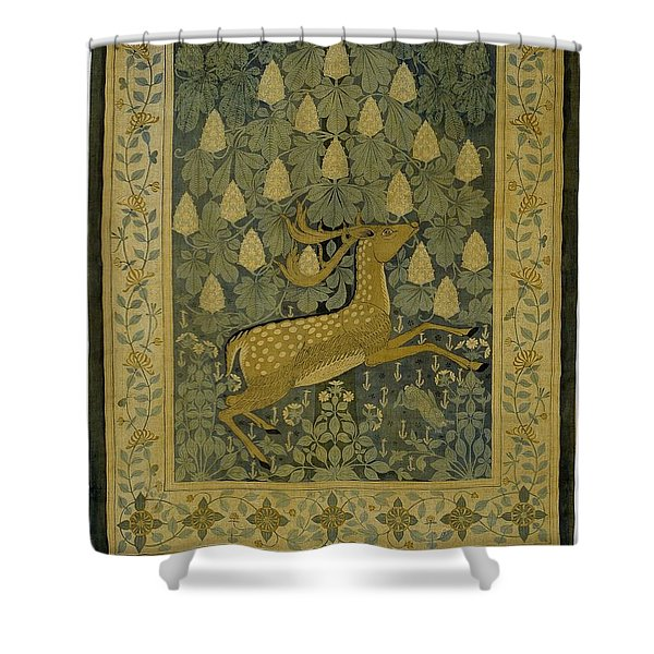 Wall Cloth With Jumping Deer Against A Background Of Flowering Chestnuts, Willem Karel Rees, C. 1902 Shower Curtain