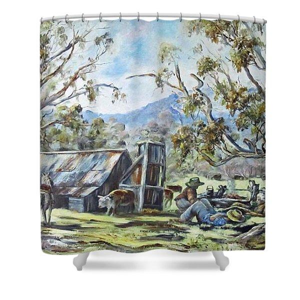 Wallace Hut, Australia's Alpine National Park. Shower Curtain