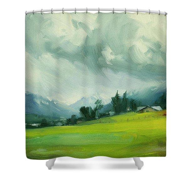 Wallowa Valley Storm Shower Curtain