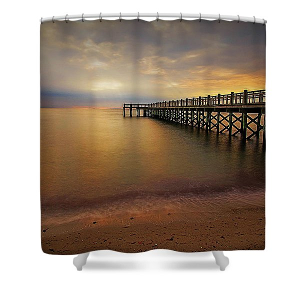 Walnut Beach Pier Shower Curtain