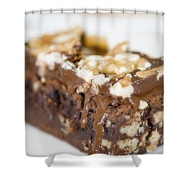 Walnut Brownie On A White Plate Shower Curtain