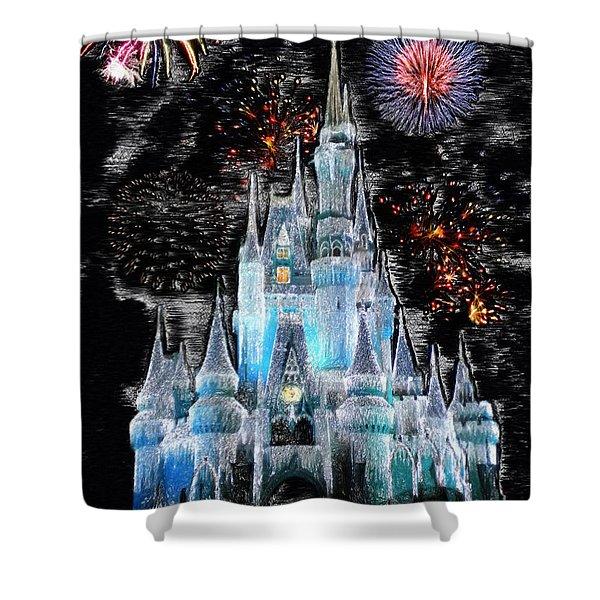 Walt Disney World Frosty Holiday Castle Mp Shower Curtain