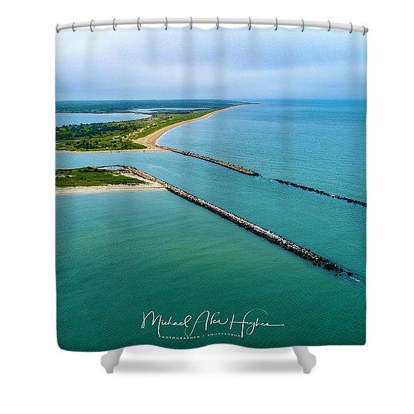 Waquiot Bay Breakwater Shower Curtain