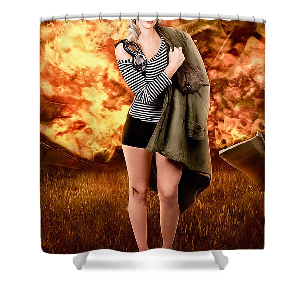 War Pilot Pin-up Woman Walking From Plane Crash Shower Curtain