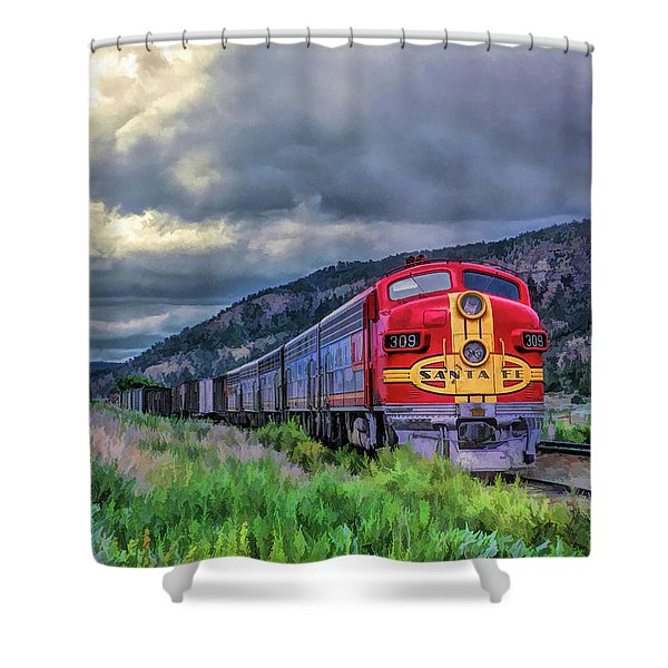 Warbonnet F7 Santa Fe Locomotive Shower Curtain
