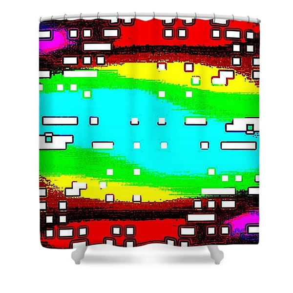 White Blocks On Colored Background Shower Curtain