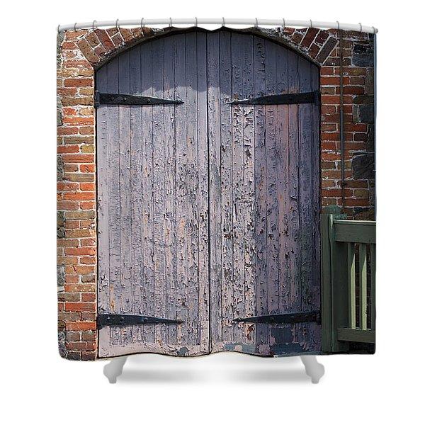 Warehouse Wooden Door Shower Curtain