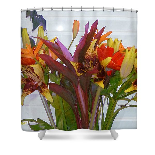 Warm Colored Flowers Shower Curtain