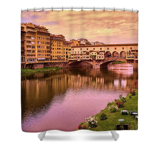 Sunset At Ponte Vecchio In Florence, Italy Shower Curtain