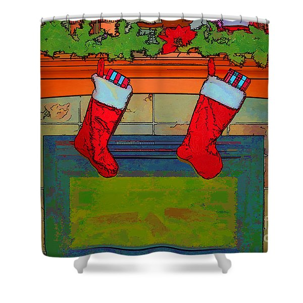 Warm Greetings At Christmas Shower Curtain