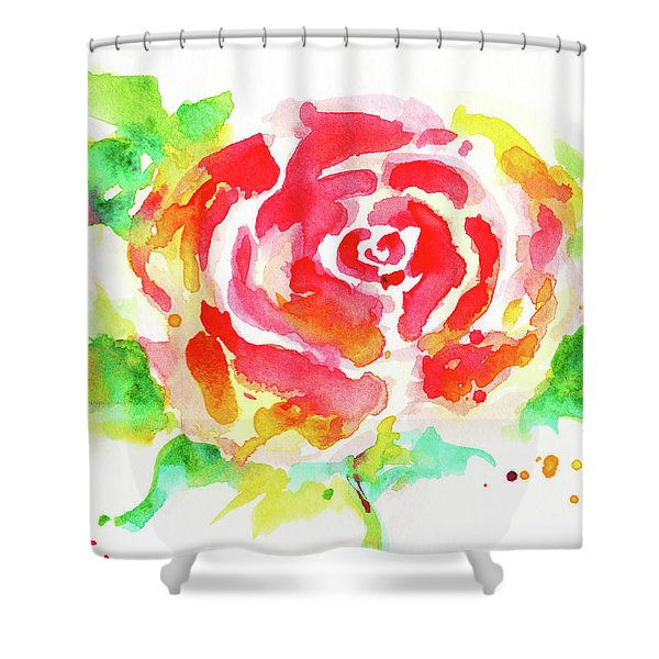 Warm Red Rose  Shower Curtain