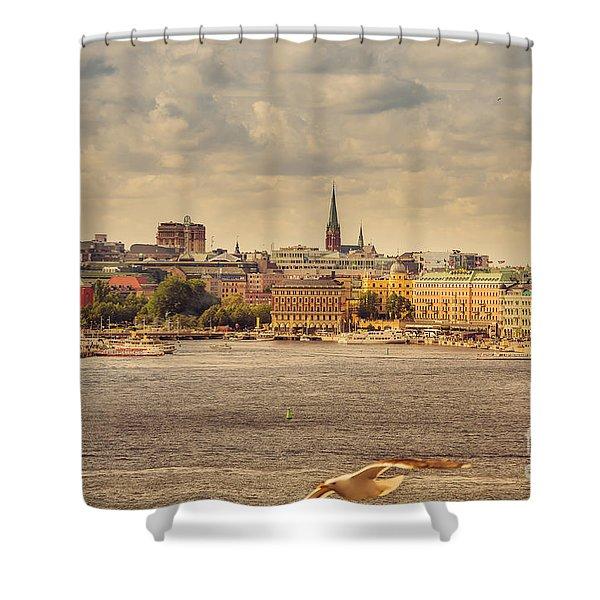 Warm Stockholm View Shower Curtain