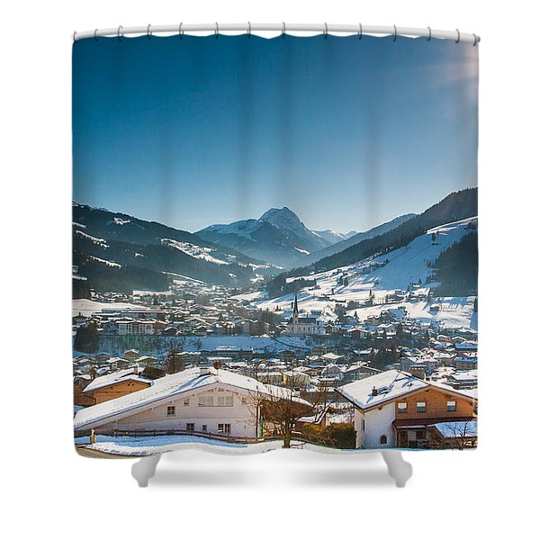 Warm Winter Day In Kirchberg Town Of Austria Shower Curtain