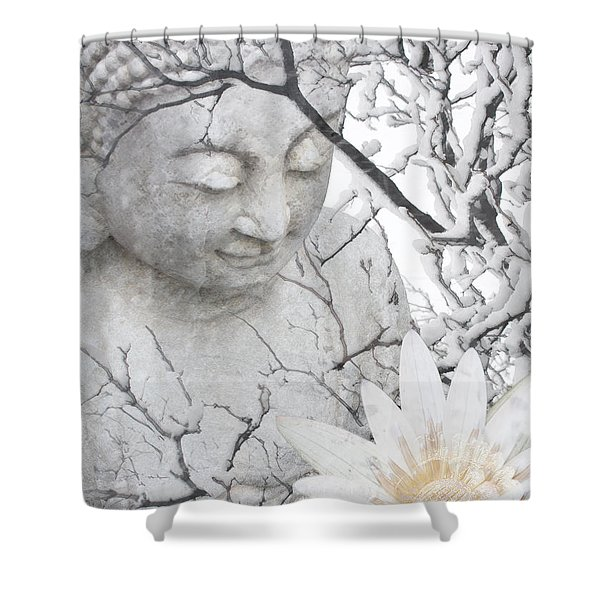 Shower Curtain featuring the mixed media Warm Winter's Moment by Christopher Beikmann