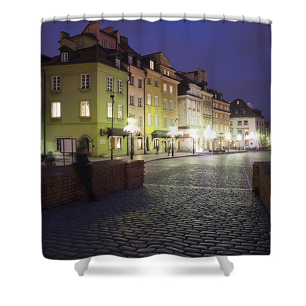 Warsaw At Night In Poland Shower Curtain