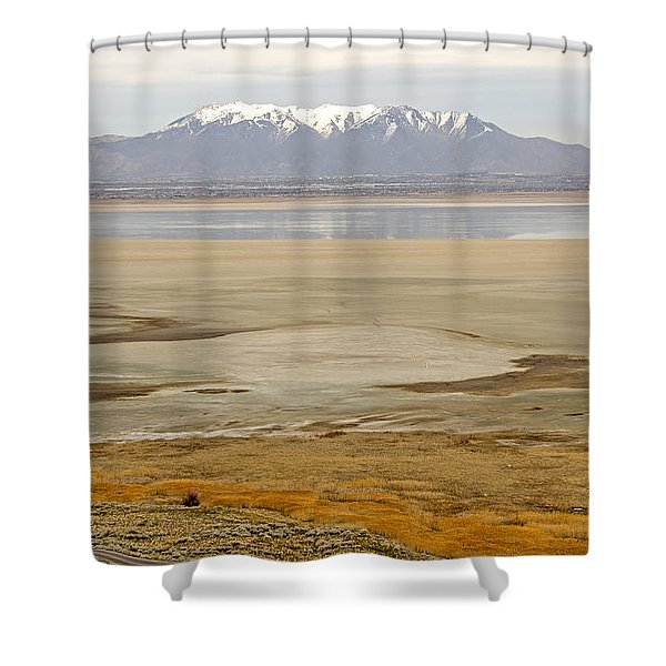 Wasatch Mountains From Antelope Island Shower Curtain